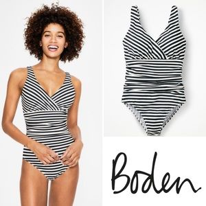 BODEN Talamanca Ink/Ivory Striped Swimsuit Size 4